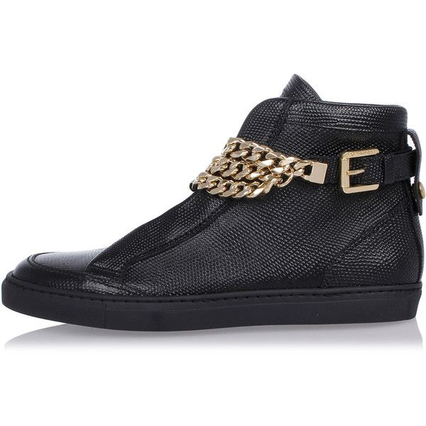 Dsquared2 Leather Sneakers with Gold Tone Chain ($450) ❤ liked on Polyvore featuring shoes, sneakers, black, chain shoes, black leather shoes, black leather trainers, chain sneakers and black shoes