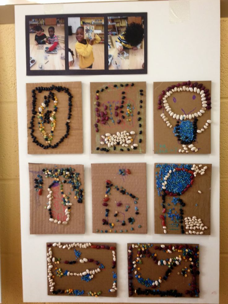Reggio Art Room: Bean Mosaics Continued