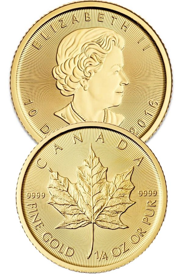 1 4 Oz Canadian Gold Maple Leaf 9999 Pure Gold Coins Money Metals Gold Coins Money Maple Leaf Gold Gold Coin Price