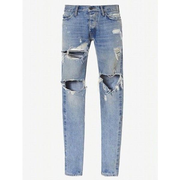 Zip Cuff Knee Hole Narrow Feet Ripped Jeans ($35) ❤ liked on Polyvore featuring men's fashion, men's clothing, men's jeans, mens destroyed jeans, mens torn jeans, mens ripped jeans and mens distressed jeans