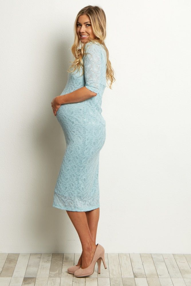 Light Blue Lace Maternity Dress Light Blue Maternity