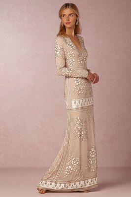 Bellethemagazine wedding dresses | BHLDN Bride | Floor Blush Sheath V-Neck $ ($1,000 or less)