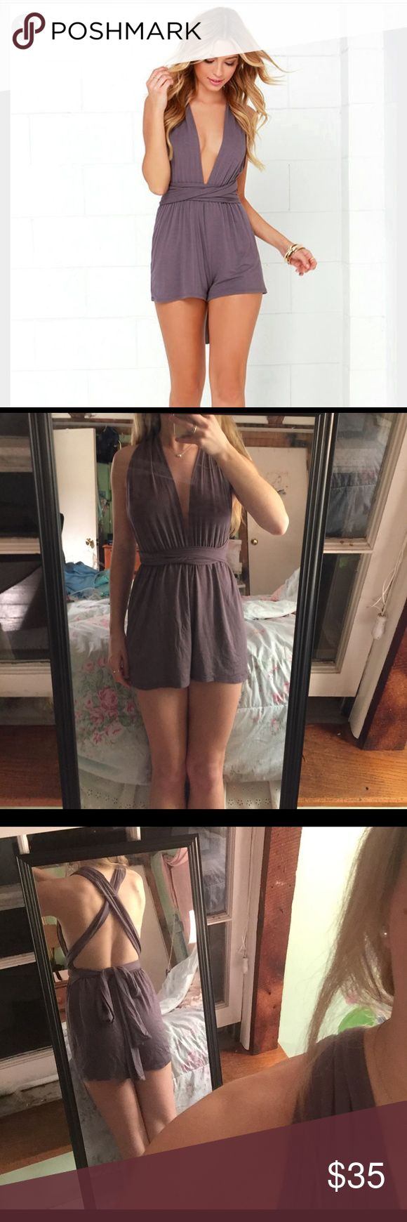 Lulu's Multi Way Romper Super comfortable multi way romper from Lulu's has never been worn! Can be worn in a variety of ways as shown on the Lulu's website. Deep v in front, perfect for  going out. Bought from another posher but decided the color was not flattering on me. For reference I am 5'2 and 104 lbs, WILL CONSIDER ALL OFFERS! Lulu's Pants Jumpsuits & Rompers
