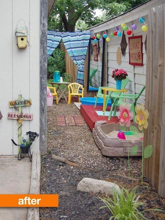 Good food for thought on how to use side of house or narrow yard or patio for kids