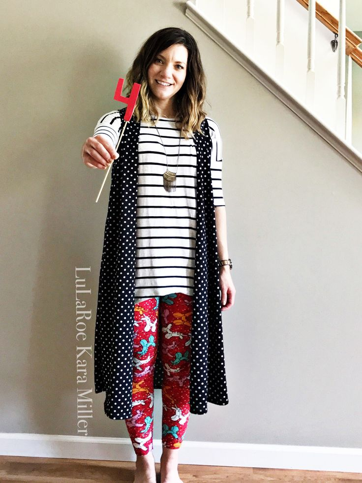 LuLaRoe striped Irma tunic and polka dot Joy vest duster and Birthday leggings for summer fashion trends and style inspiration! Print and pattern mixing times THREE! Shop here: https://www.facebook.com/groups/LularoeKaraMiller/