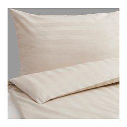IKEA - STRANDGYLLEN, Påslakan 1 örngott, 150x200/50x60 cm, , Dragkedjan håller täcket på plats.Satinvävda lakan av bomull är mycket mjuka och behagliga att sova i, och har en tydlig lyster som gör att de ser vackra ut i din säng.Extra mjuka och hållbara eftersom sängkläderna är tätvävda av finare garn.