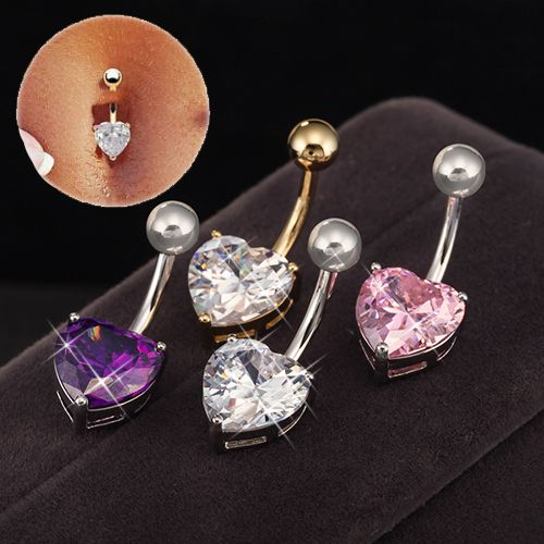 New Heart  Design AAA Quality Zircon  Belly Button Rings Piercing Navel Gold…