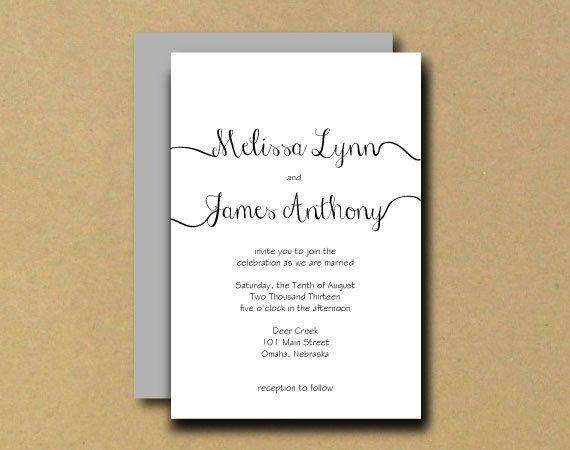Printable wedding invitation diy