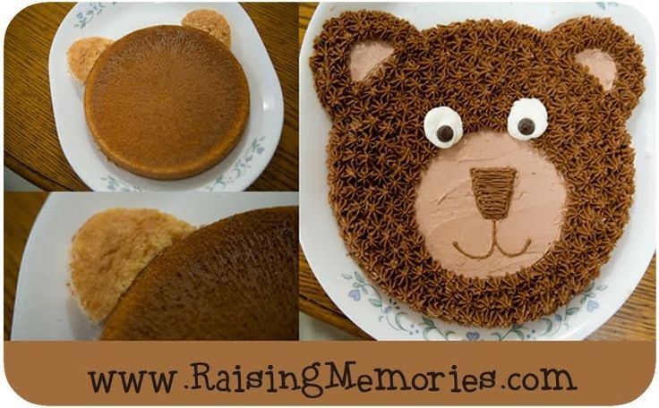 Bear cake Will use this for Carson's smash cake 6 inch round & cupcake cut in half for ears