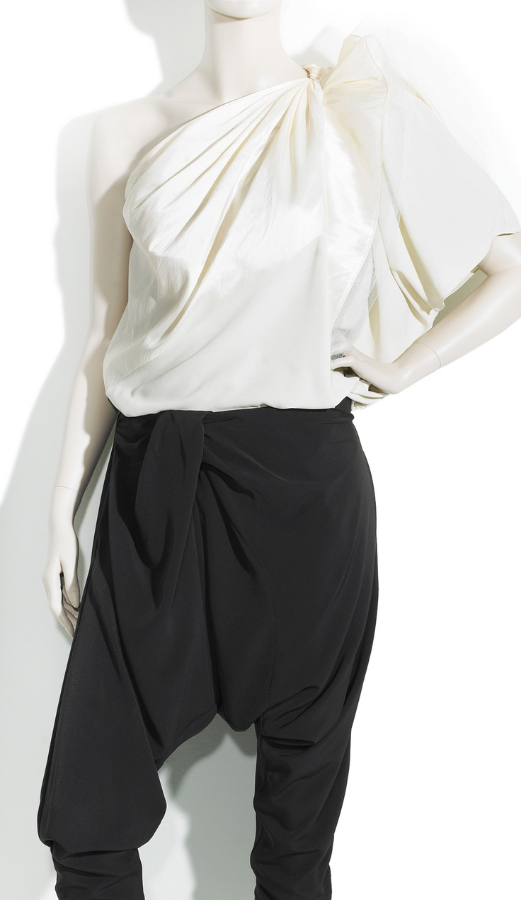 Knotted One-Shoulder Tafetta Silk Top