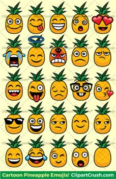 Pineapples Emoji Clipart Faces! Cute Pineapple Emojis Emotions Expressions