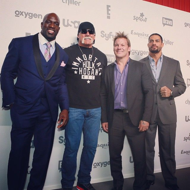 @titusoneilwwe, @chrisjerichofozzy, Hulk Hogan and Roman Reigns made an appearance this evening at the #NBCUpFronts red carpet #Padgram