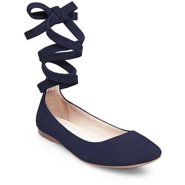 Steve Madden Women's Bloome Flats ($80) ❤ liked on Polyvore featuring shoes, flats, navy sde, steve madden flats, navy blue shoes, criss cross ballet flats, navy flat shoes and ballerina flats