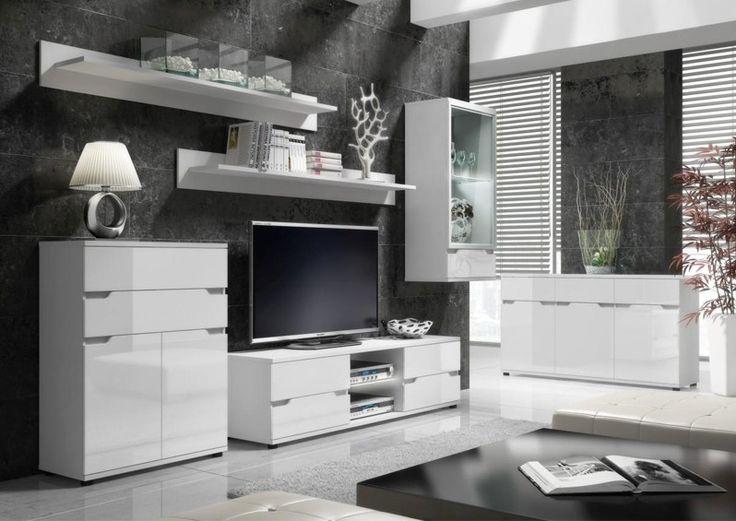 ALASKA proste nowoczesne meble do salonu białe w połysku z oświetleniem LED