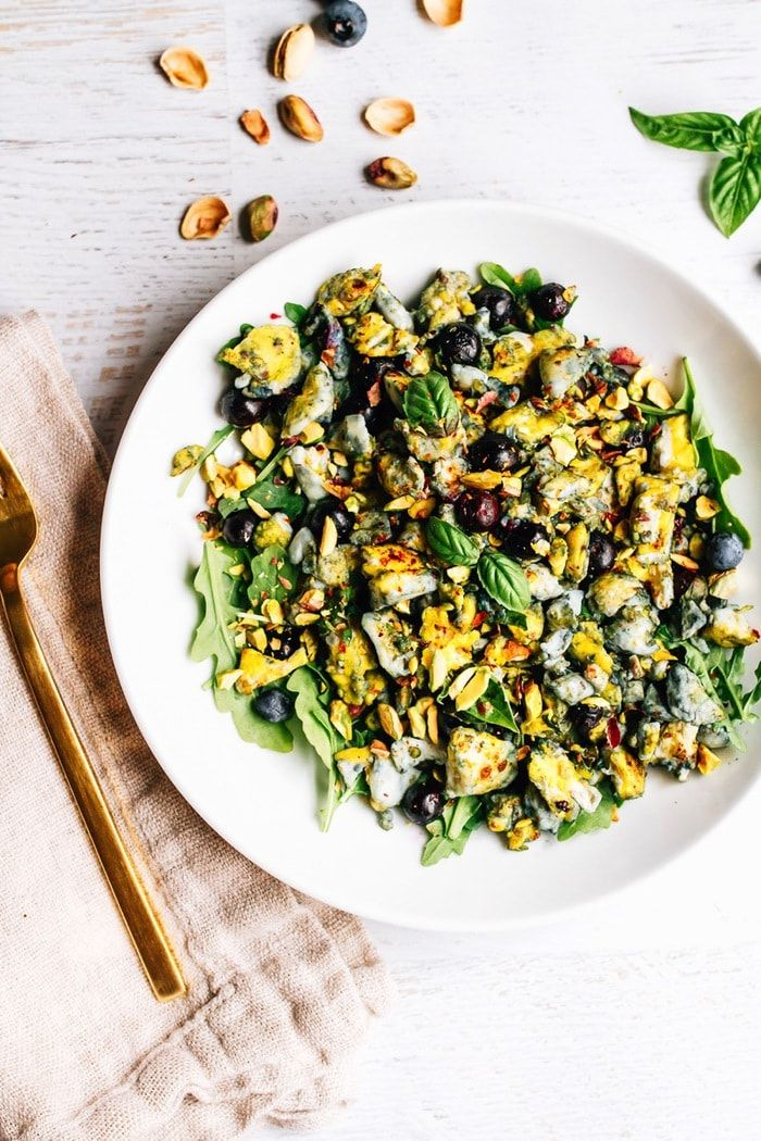 Add blueberries to your egg scramble and serve over fresh baby greens for a swee…
