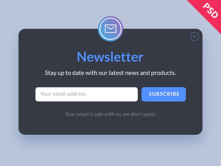 Newsletter Form PSD Template