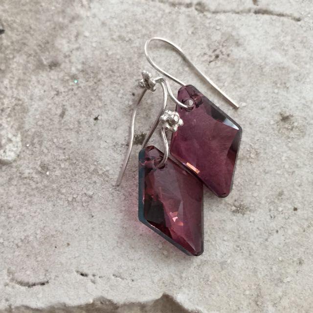 Geometric Diamond Drop Swarovski Earrings On Sterling Silver Ear Hooks on Carousell