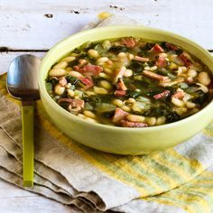 Slow Cooker Bean Soup with Ham, Spinach, and Thyme [found on KalynsKitchen.com]