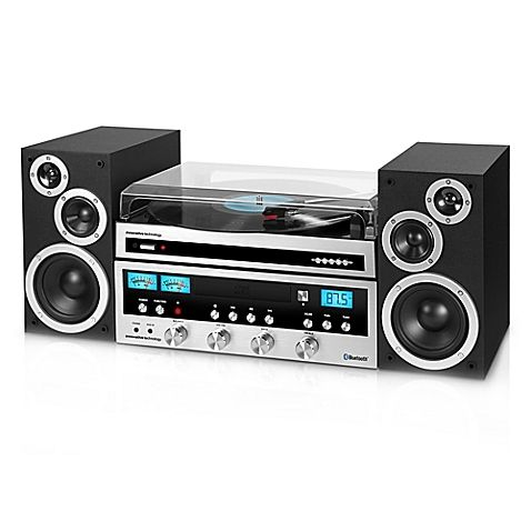Innovative Technology Classic Retro Bluetooth® Stereo System with Turntable in Black and Silver