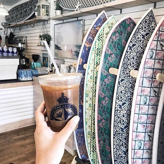 It's always summer somewhere💦 #BluestoneLaneBeachCafe is open for the season ☀️Head on in for your pre-surf caffeine fix; bring your sunscreen and flip-flops, they have the boards!  #montauk #hamptons #summer #surf #surfboard #design