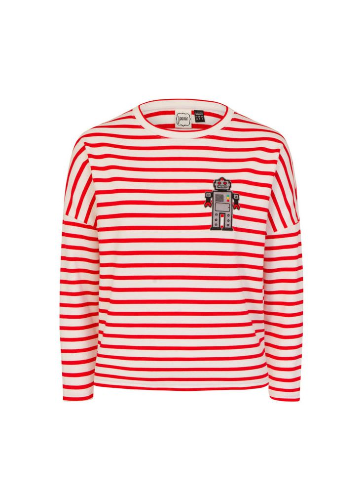 The Robo Robot Breton Stripe Top is a relaxed fit style in a red Breton stripe design with a fun robot embroidered patch on the front.