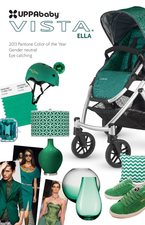 We love this mood board from UPPABaby for the 2013 Pantone Color of the year: Emerald! http://www.uppababy.com/products/product.php?id=236
