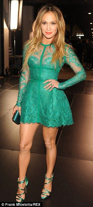 Green goddess: J.Lo looked gorgeous in a lace minidress at the Teen Choice Awards show on ...