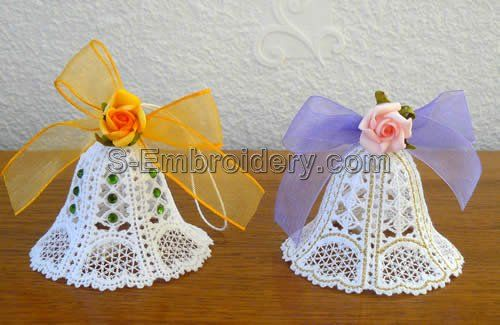 Battenberg Lace Christmas Bells machine embroidery designs