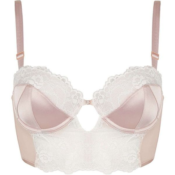 TOPSHOP Satin and Lace Bralet ($45) via Polyvore featuring intimates, white, topshop, satin knickers and underwire bras