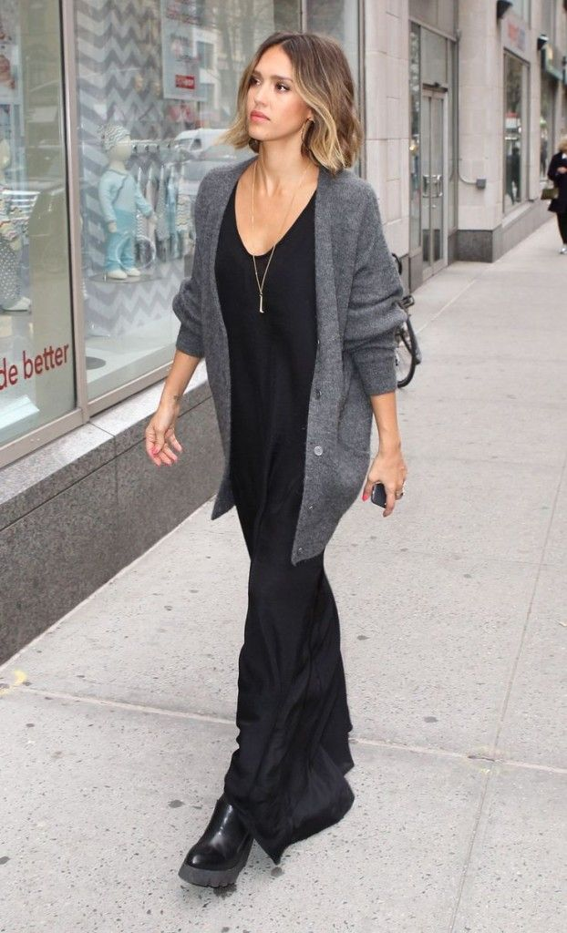 how to wear a maxi dress in winter-maxi dresses-grey cardigan-black and grey-jessica alba-