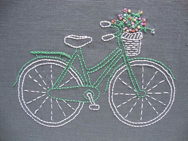 DIY Embroidery kit // Bicycle design // mint bike with pastel flowers on grey linen // vintage-inspired // modern hand stitching by iHeartStitchArt on Etsy https://www.etsy.com/listing/195479465/diy-embroidery-kit-bicycle-design-mint