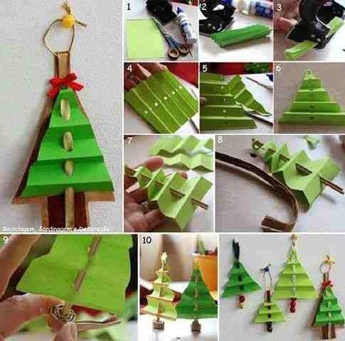 Papieren kerstboomhangers.