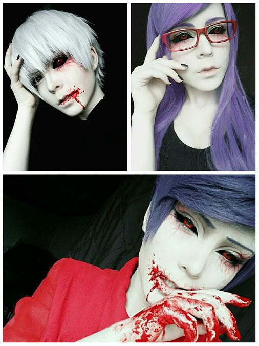 Kaneki, Rize, and Tsukiyama                                                                                                                                                                                 More - COSPLAY IS BAEEE!!! Tap the pin now to grab yourself some BAE Cosplay leggings and shirts! From super hero fitness leggings, super hero fitness shirts, and so much more that wil make you say YASSS!!!