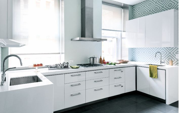 wallpaper in white modern kitchen