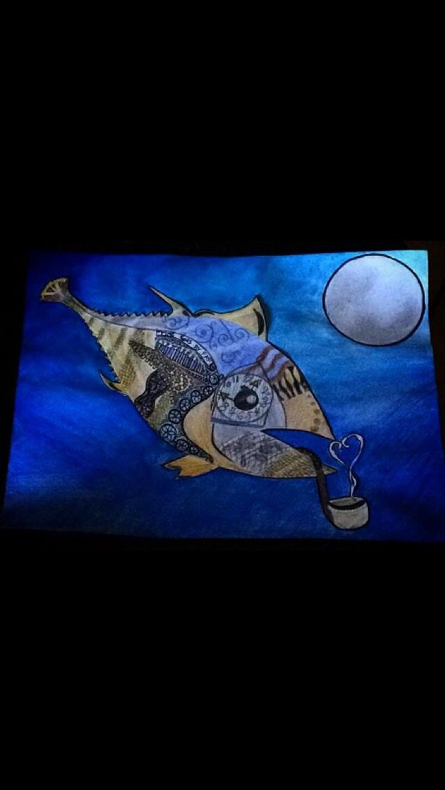 My steampunk fish I did a couple days ago, it's part painting and part drawing