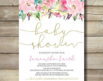 Niña bebé ducha invitación invitación oro flor Floral flores rosa Blush color turquesa único país Vintage bastante bricolaje imprimibles populares