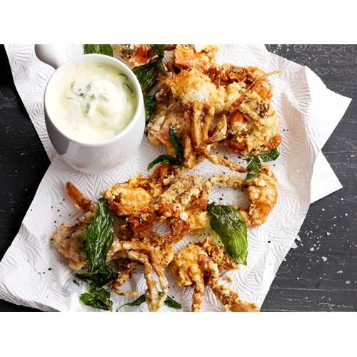 Soft shell crab with green onion aioli recipe - By Australian Women's Weekly, Crunchy, succulent soft shell crab pairs brilliantly with this flavoursome green onion aioli. Enjoy it as finger food with a glass of wine, or as a starter to a big dinner party.