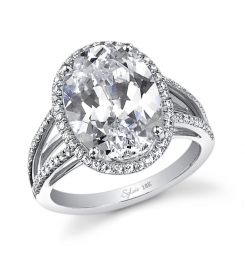 This beautiful 18k white gold  diamond engagement ring features a 5 carat oval cut diamond. Round brilliant diamonds surround the center stone and flow down the sides of this ring for a total carat weight of 0.49 carats. The diamond engagement ring is available in any shape or size center diamond, in 18K white gold or platinum. All Sylvie Collection engagement rings are available with a flush fit matching wedding band. (For pricing on this diamond engagement ring and other diamond engagement ...: Diamond Engagement Rings, Beautiful 18K, Sylvi Collection, Oval Cut Diamonds, Diamonds Rings, 18K White, Brilliant Diamonds, White Gold Diamonds, Diamonds Engagement Rings