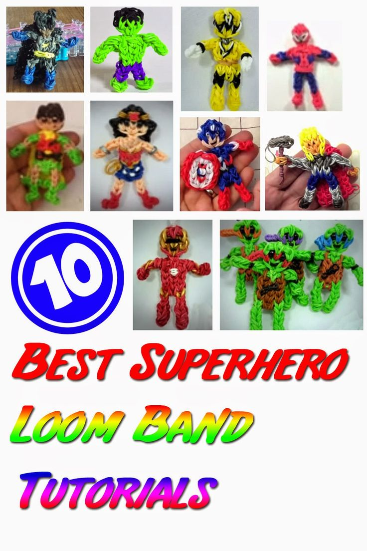 10 Best Superhero Loom Bands Tutorials - How I wish I will have enough time for this. I am planning a Superhero theme for my twin's birthday next year and this is the best souvenir that I have in mind.