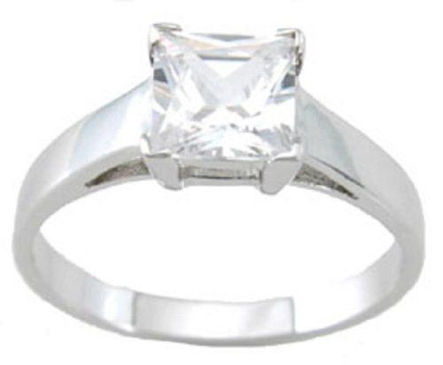 925 Sterling Silver 1 Carat Cut CZ Engagement Ring in Sizes 5 6 7 8 9