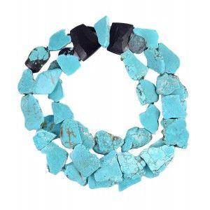 Collar Monies de piedras turquesas azules y ebano www.sanci.es