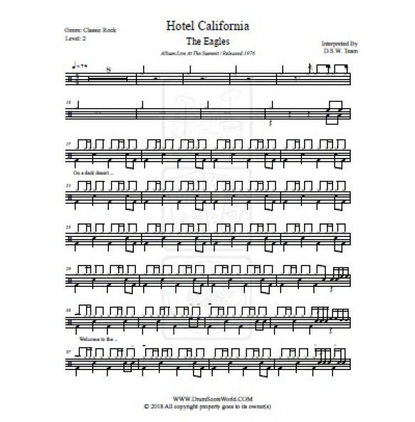 Drum Score Eagles Hotel California Eagles Hotel California Hotel California Drums Sheet