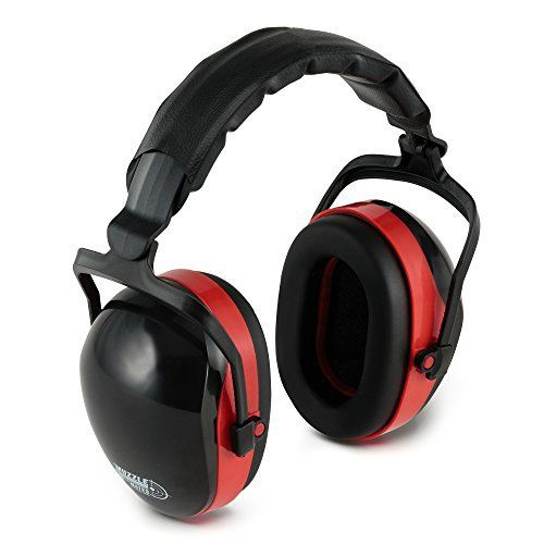 Heavy Duty 32DB Noise Cancelling Ear Muffs- Sweat Proof Padded Headband- Fully Adjustable Cups- Ultimate Hearing Protection for Gun Range Shooting/ Hunting/ Construction Work & More (Red)