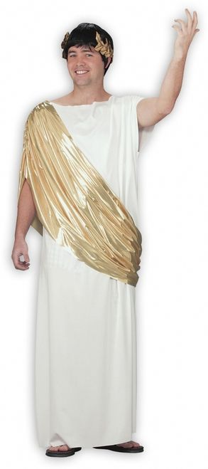 Hail Caesar Toga Roman Halloween Costume - Be one of the most powerful historic leaders this Halloween, by being the great Julius Caesar. And what better to wear than this long toga with gold accessories. A complete and easy Halloween costume for any guy who likes comfort and little effort. #caesar #julius #yyc #calgary #costume #mens #rome