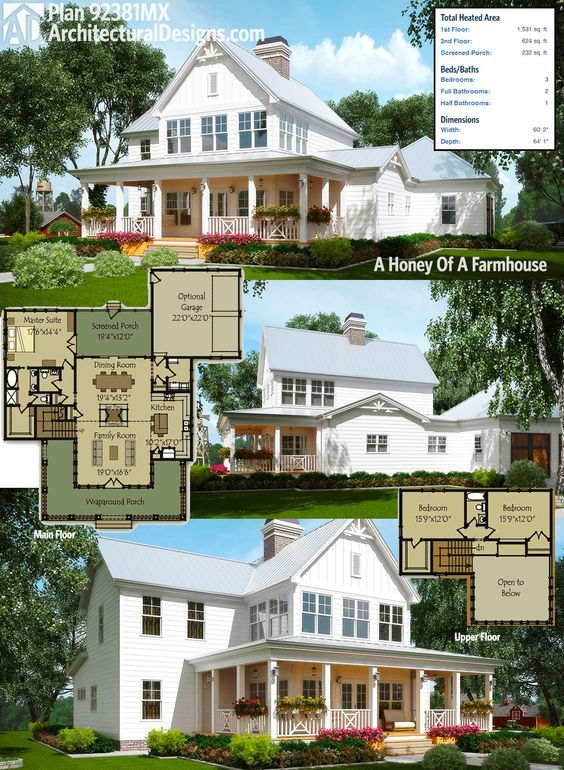 "We call Architectural Designs Exclusive Farmhouse Plan 92381MX ""A Honey Of A Farmhouse"". 3 beds, 2.5 baths, a wrapping porch in front and a screened front and back. Ready when you are. Where do YOU want to build?"