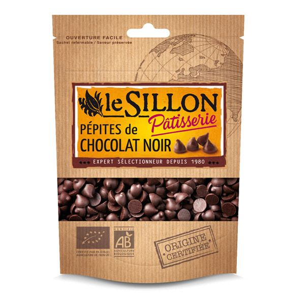 Pépites De Chocolat Noir 48% cacao 125g Le sillon   Acheter sur Greenweez.com