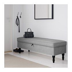 STOCKSUND Bench, Ljungen gray, black/wood - Ljungen gray - black - IKEA