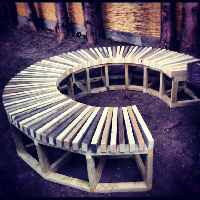 Sean Fagan design. Garden seating, work in progress. Recycled scrap scaffold board.