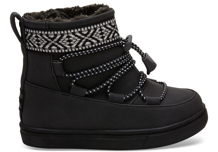 undefined Black Synthetic Suede Tiny TOMS Alpine Boots