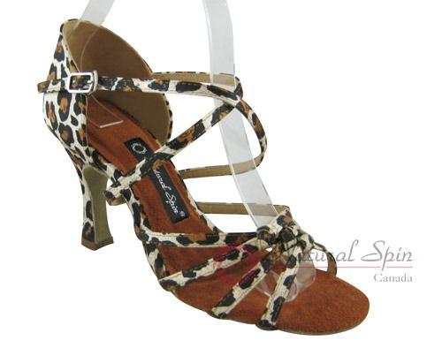 Natural Spin Latin Shoes(Open Toe):  M1122-02_LeopardCS